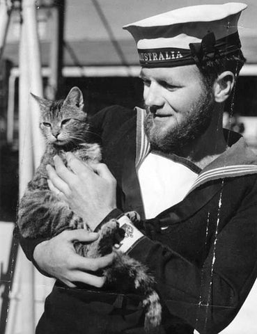 Sailor from HMAS Australia with the ships cat