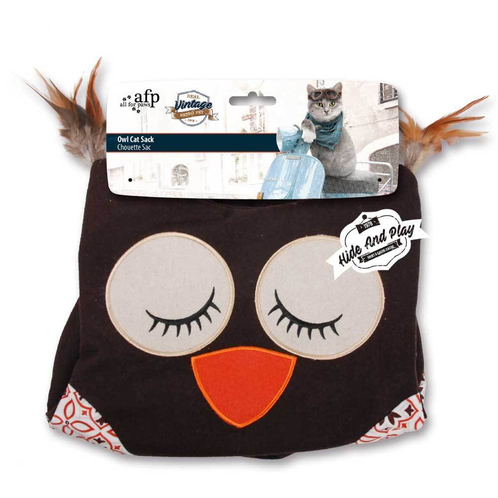 All For Paws Vintage Owl Cat Crinkle Sack - Brown - Ziggy Belle