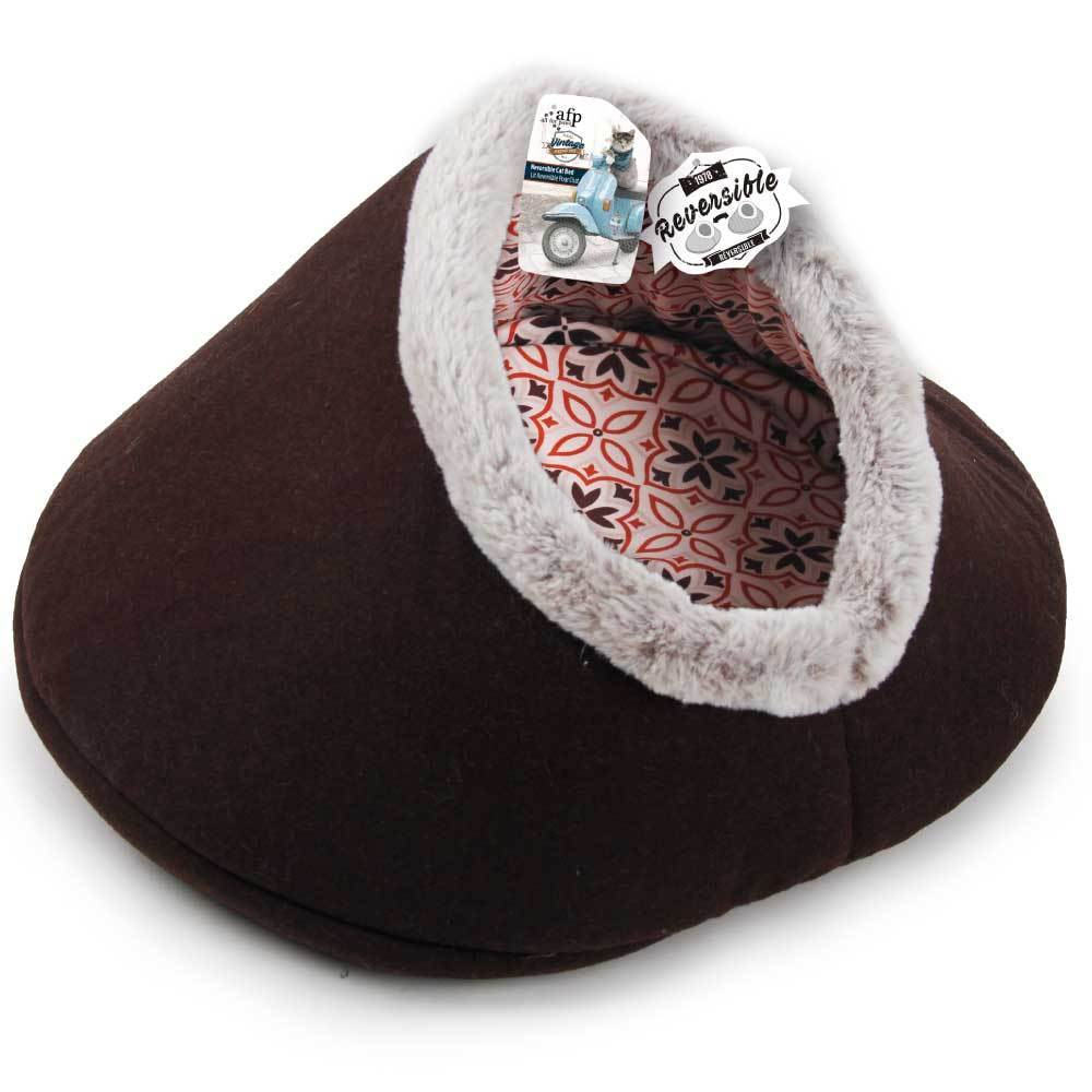 Igloo Cat Bed Reversible Cave Brown Retro Fabric Felt Vintage All For - Ziggy Belle