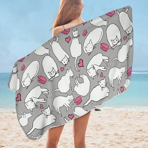 Grey and Pink Cats Beach Towel - Ziggy Belle