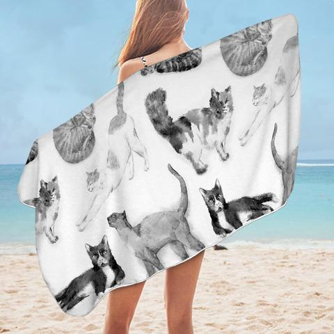 Black and White Cats Beach Towel - Ziggy Belle