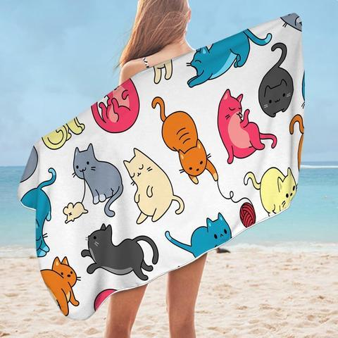 Rainbow Cats Beach Towel - Ziggy Belle