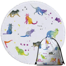 Load image into Gallery viewer, Watercolour Cats Round Beach Towel - Ziggy Belle