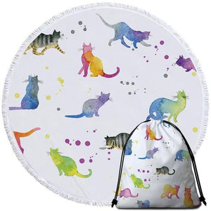 Watercolour Cats Round Beach Towel - Ziggy Belle