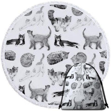 Load image into Gallery viewer, Black and White Cats Round Beach Towel - Ziggy Belle