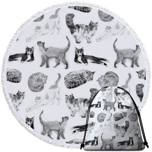 Black and White Cats Round Beach Towel - Ziggy Belle