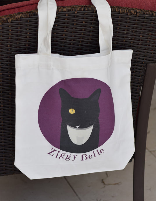 Cat Print Canvas Tote Bag - Ziggy Belle