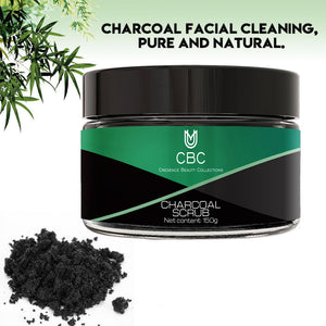Activated Charcoal Scrub Infused with Collagen and Stem Cell. All Natural Body and Face Exfoliating Facial Wash, Blackheads Acne Scars, Pore Minimizer, Exfoliator, Anti Cellulite Skin Care