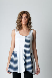 Sleeveless Stripe Detail Tunic Navy