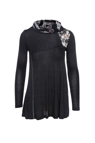 Lace Detail Long Sleeve Top in Black