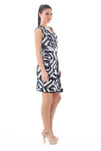 Print Dress with Uneven Hemline