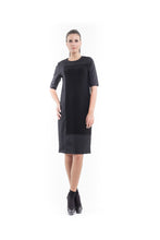Load image into Gallery viewer, Contrast Fabric Shift Dress black