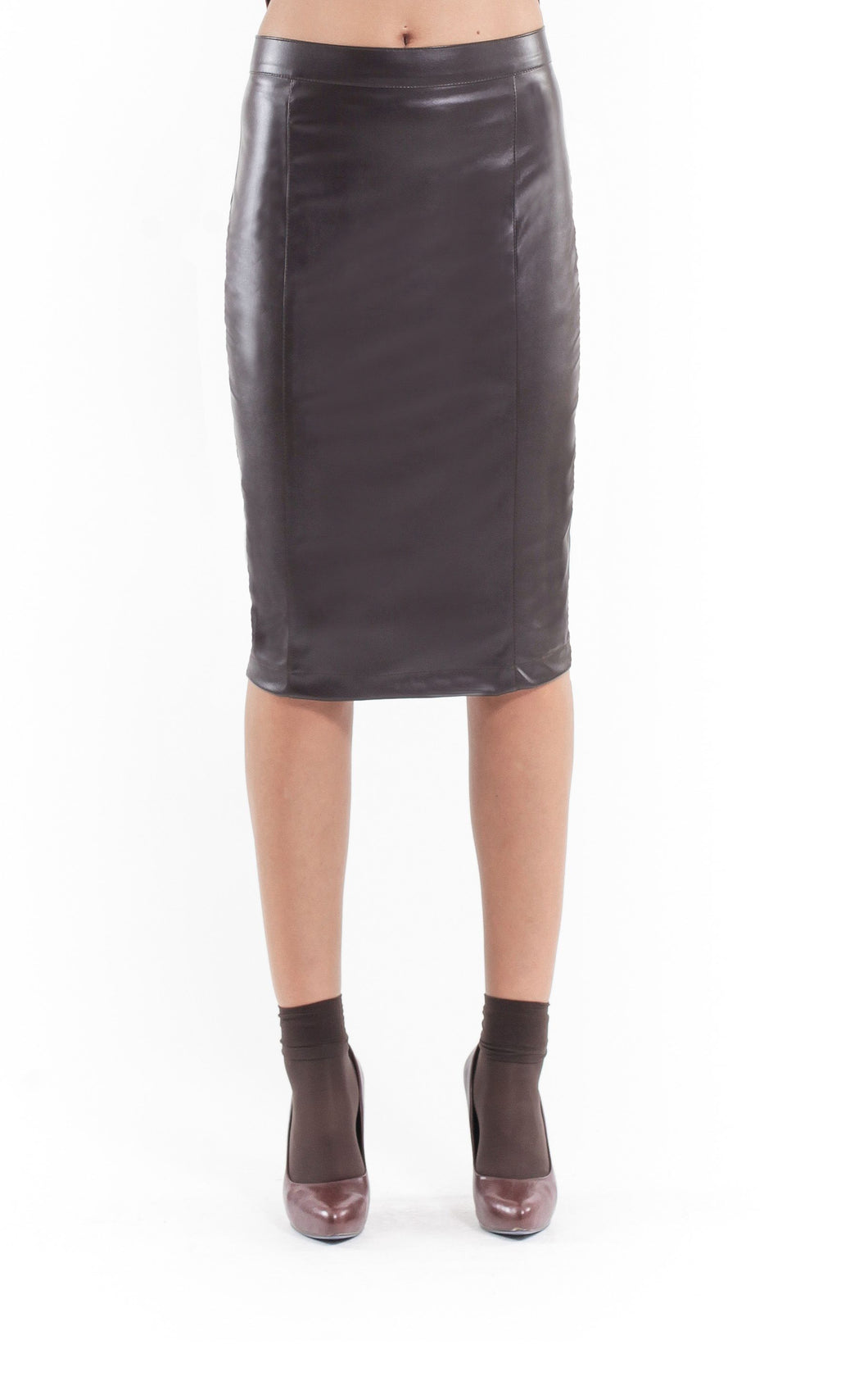 Faux Leather Pencil Skirt brown