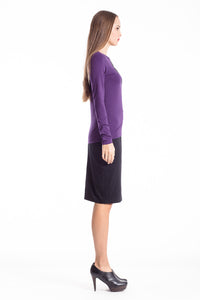 C' Logo Long Sleeve Top aubergin