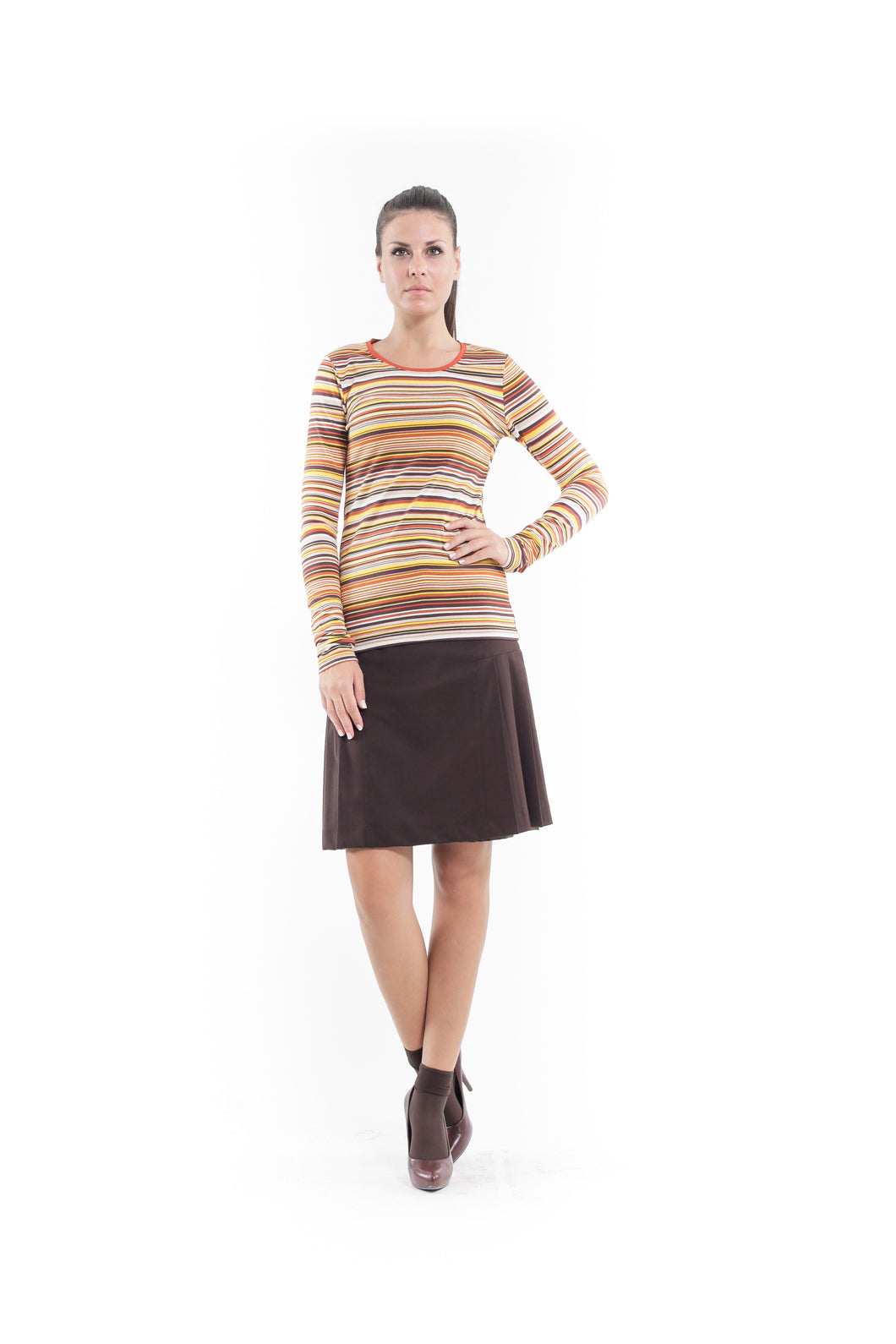 Stretch Long Sleeve Stripe Top