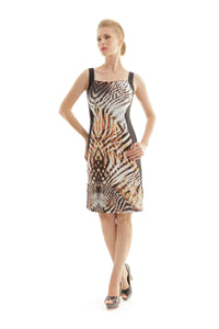 Panel Detail Animal Print Dress