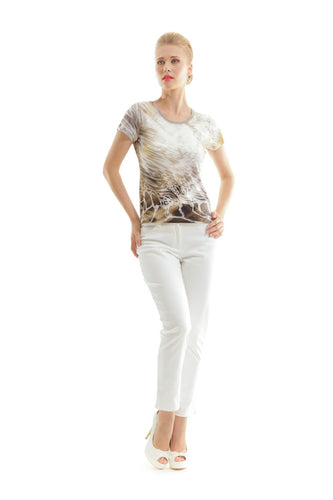 Short Sleeve Animal Print Top by Conquista