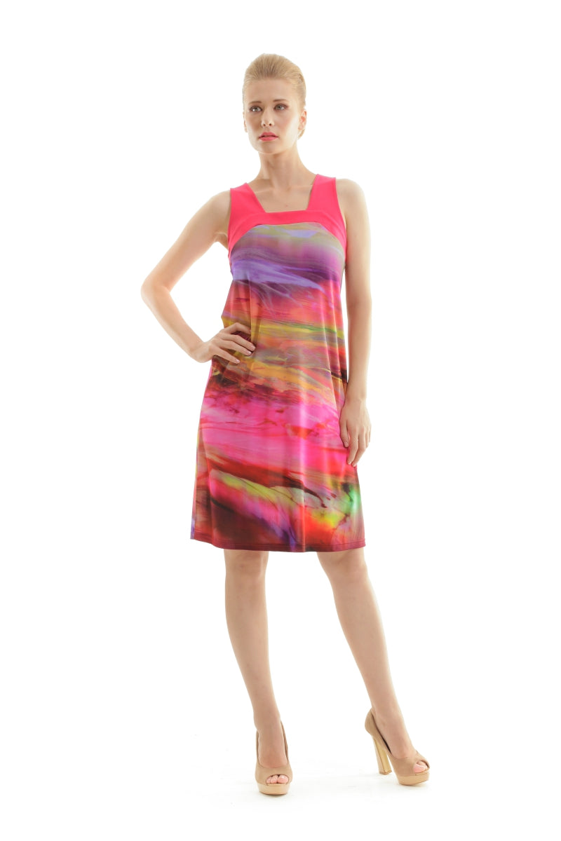 Print Dress with Square Neckline