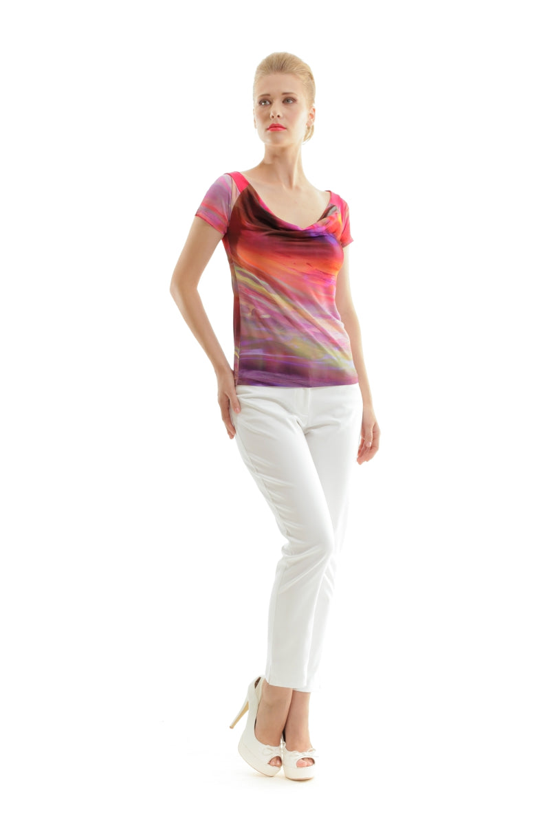 Short Sleeve Print Top by Conquista Fashion