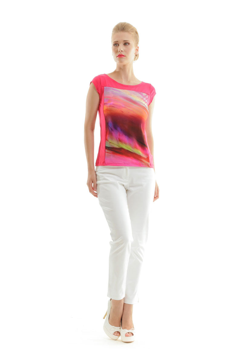 Print and Solid Colour Top