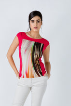 Load image into Gallery viewer, Red Print Detail Cap Sleeve Top