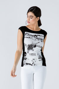 Black Print Detail Cap Sleeve Top