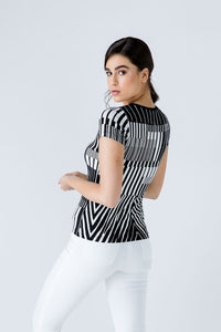 Short Sleeve Black and White Top