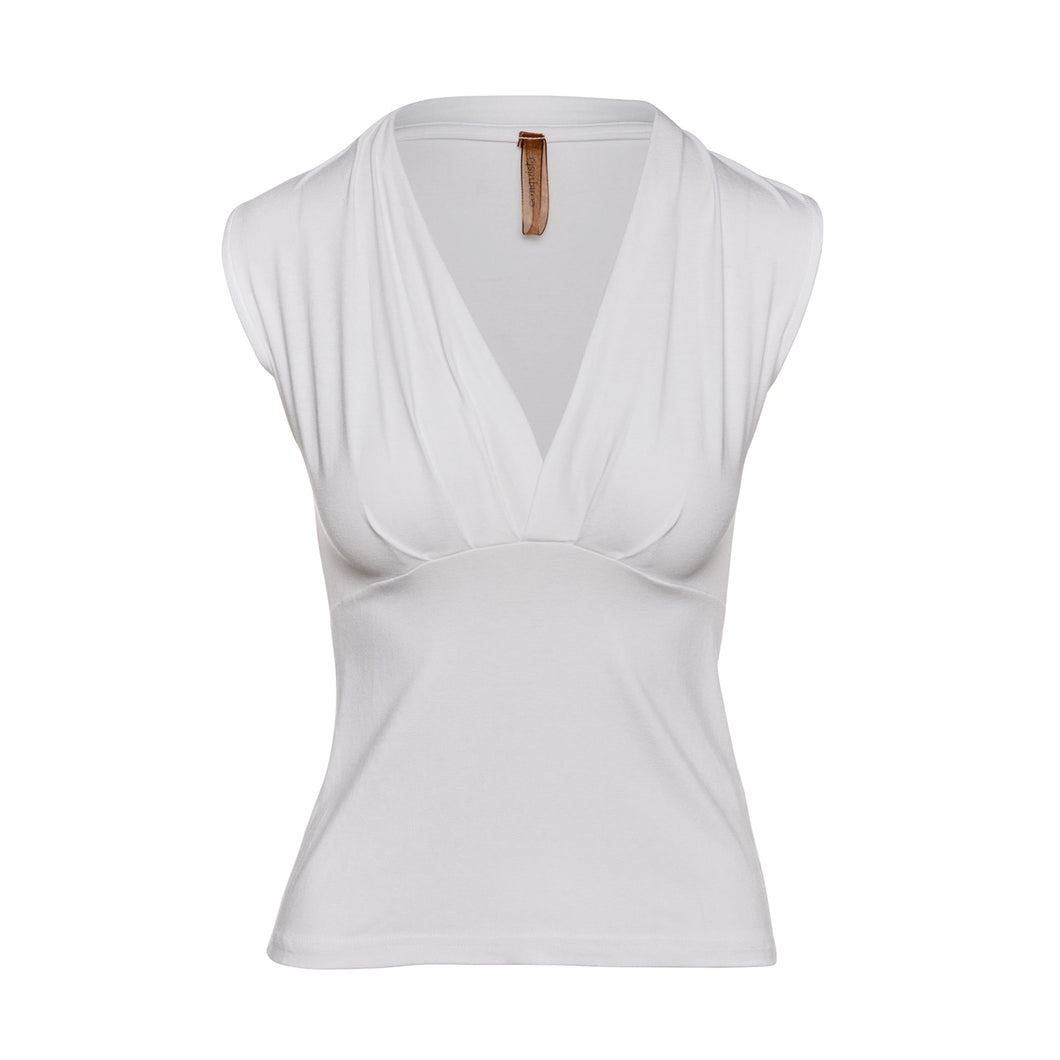 Whitet Faux Wrap Sleeveless Top