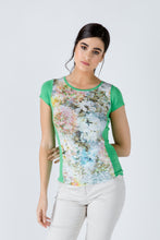 Load image into Gallery viewer, Green Short Sleeve Floral Print Top