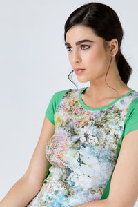 Green Short Sleeve Floral Print Top
