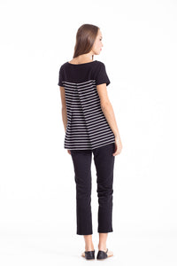 Striped Top with Uneven Hemline