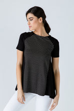 Load image into Gallery viewer, Black Short Sleeve Top with Stripe Detail