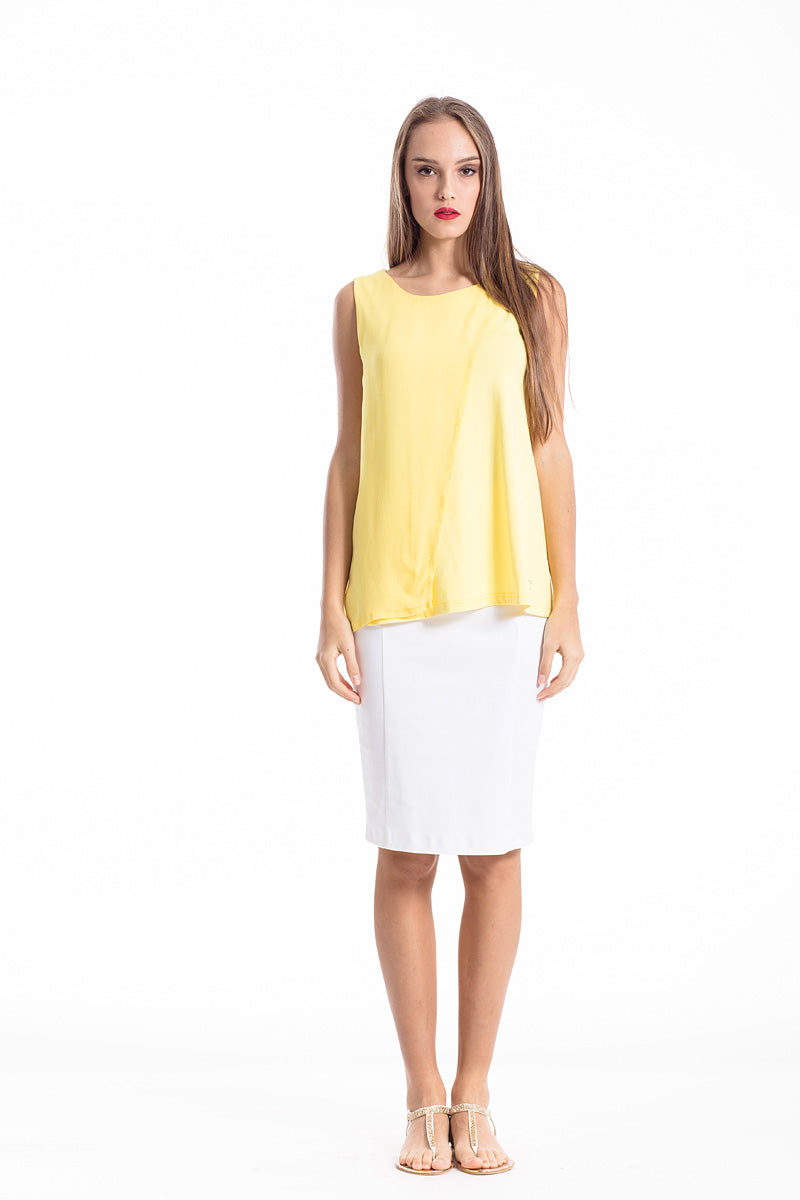Sheer Detail Sleeveless Stretch Top