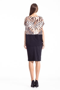 Contrast Animal Print Top