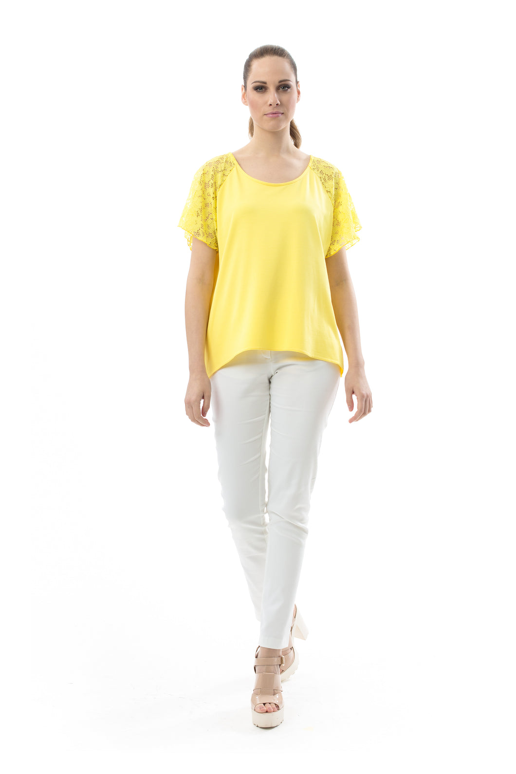 Lace Detail Short-Sleeved Top in Yellow