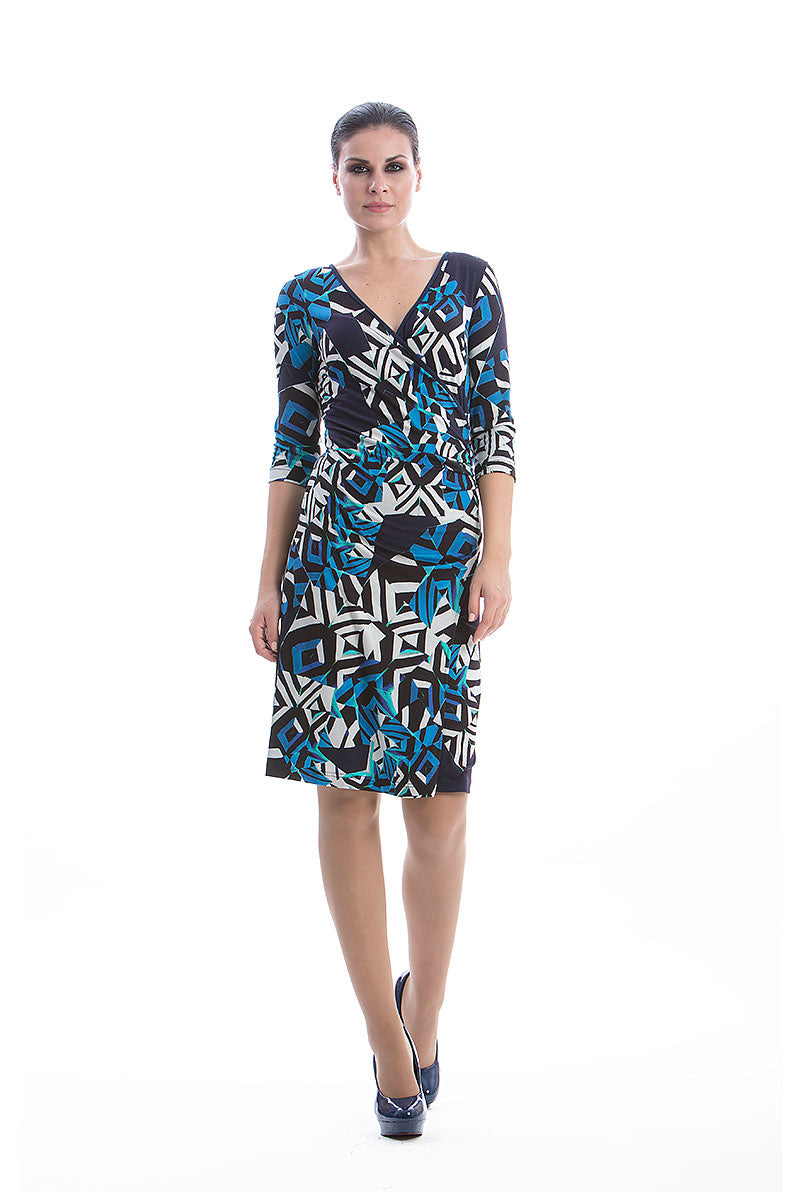 Abstract Print Crossover Dress