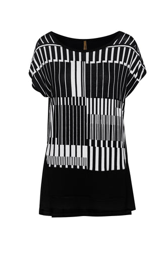 Print Sleeveless Top in Black by Conquista Fashion