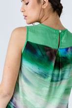 Load image into Gallery viewer, Green Keyhole Detail Print Top