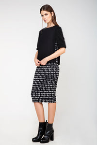 High-Waisted Midi Pencil Skirt