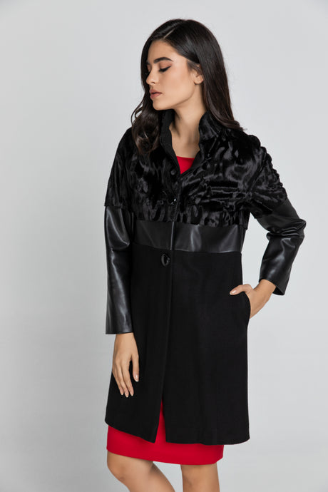 Black Three Fabric Coat Conquista Fashion