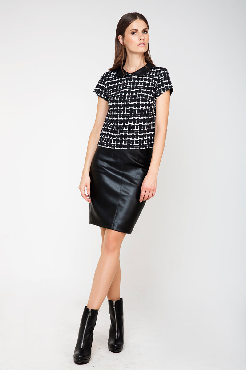 Leather Look Pencil Skirt