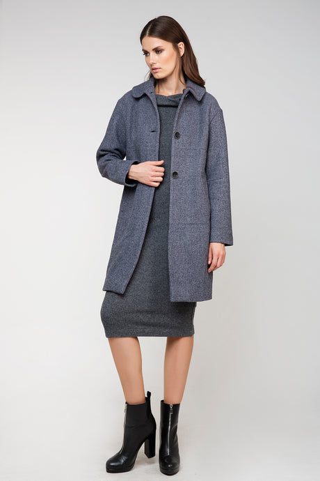 Gray Wool Straight Coat