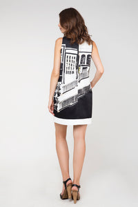 Print Sack Dress in Black