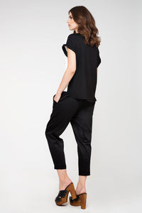 Tie Detail Trousers in Black