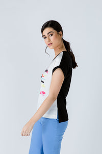 Cap Sleeve Print Top With Print