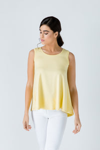 Yellow Sleeveless Top with Rounded Hemline