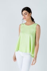 Green Sleeveless Top with Rounded Hemline