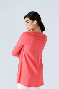 V Neck Top with Crepe Detail