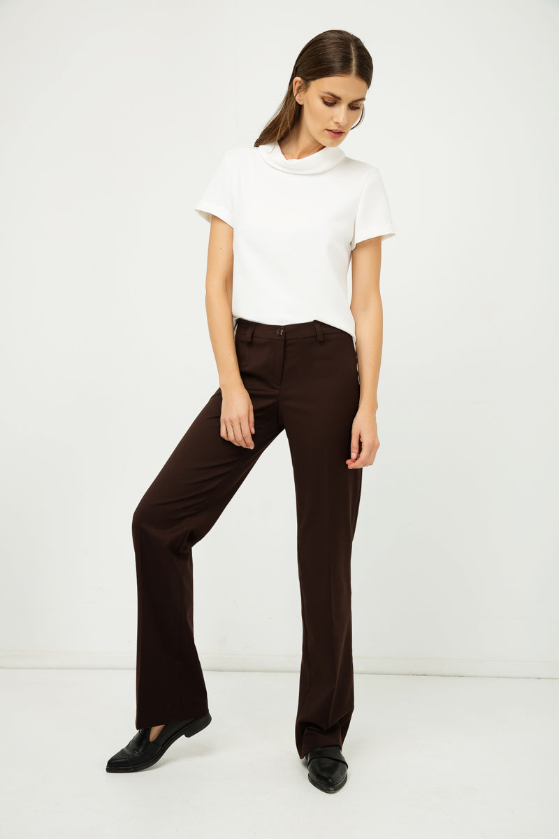 Classic Straight Trousers Brown