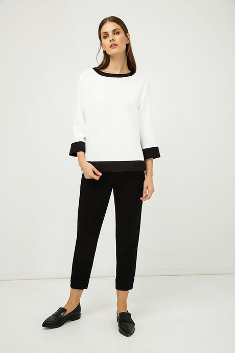 Boat Neck Top with Zip Detail IN Black and White